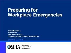 Preparing for Workplace Emergencies Richard Mendelson Area Director