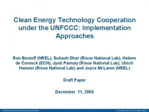 Clean Energy Technology Cooperation under the UNFCCC Implementation