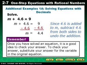 2 7 OneStep Equations with Rational Numbers Additional
