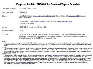 Proposal for TGm SDD Call for Proposal Topics