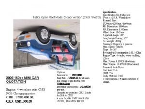 Specification Specification for 4 wheelers 150 cc Open