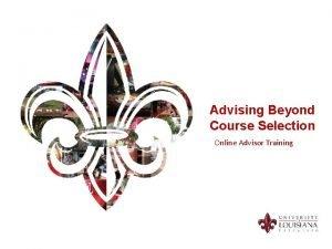 Advising Beyond Course Selection Online Advisor Training Advisor