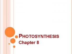 PHOTOSYNTHESIS Chapter 8 ENERGY LIFE ENERGY The ability