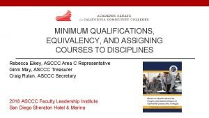 MINIMUM QUALIFICATIONS EQUIVALENCY AND ASSIGNING COURSES TO DISCIPLINES