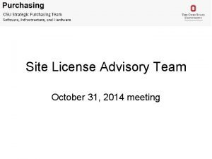 Site License Advisory Team October 31 2014 meeting