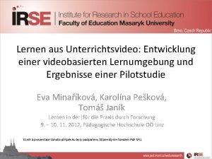 Lernen aus Unterrichtsvideo Entwicklung einer videobasierten Lernumgebung und