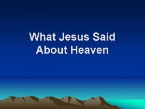 What Jesus Said About Heaven Title What Jesus