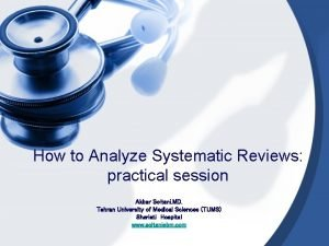 How to Analyze Systematic Reviews practical session Akbar