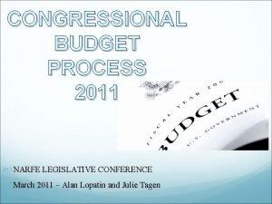 CONGRESSIONAL BUDGET PROCESS 2011 NARFE LEGISLATIVE CONFERENCE March