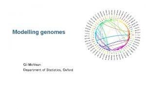 Modelling genomes Gil Mc Vean Department of Statistics