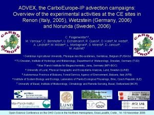 ADVEX the Carbo EuropeIP advection campaigns Overview of