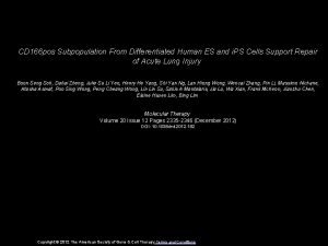 CD 166 pos Subpopulation From Differentiated Human ES