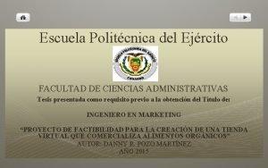 Escuela Politcnica del Ejrcito FACULTAD DE CIENCIAS ADMINISTRATIVAS