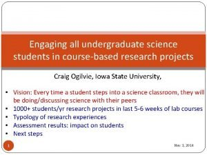 Engaging all undergraduate science students in coursebased research