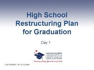High School Restructuring Plan for Graduation Day 1
