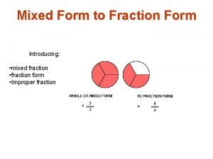 Mixed Form to Fraction Form Introducing mixed fraction
