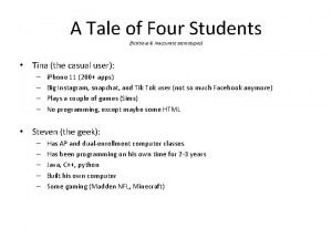 A Tale of Four Students fictitious inaccurate stereotypes
