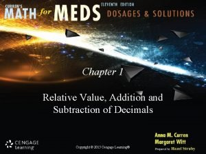 Chapter 1 Relative Value Addition and Subtraction of