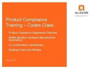 Product Compliance Training Codes Class Product Compliance Department