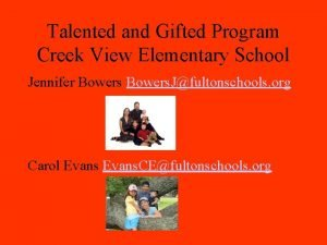 Talented and Gifted Program Creek View Elementary School