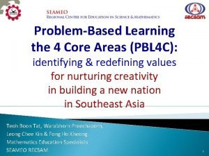 ProblemBased Learning the 4 Core Areas PBL 4