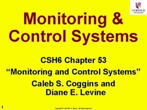 Monitoring Control Systems CSH 6 Chapter 53 Monitoring