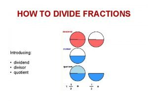 HOW TO DIVIDE FRACTIONS Introducing dividend divisor quotient
