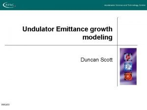 Undulator Emittance growth modeling Duncan Scott 050203 Emittance
