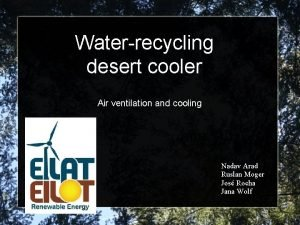 Waterrecycling desert cooler Air ventilation and cooling Nadav