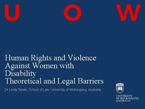 Human Rights and Violence Against Women with Disability