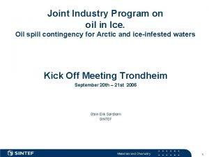 Joint Industry Program on oil in Ice Oil