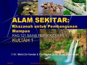 ALAM SEKITAR Khazanah untuk Pembangunan Mampan RAG 121