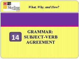 What Why and How 14 GRAMMAR SUBJECTVERB AGREEMENT