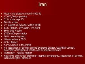Iran Mostly arid plateau around 4 000 ft