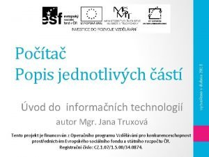 vod do informanch technologi autor Mgr Jana Truxov