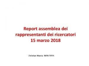 Report assemblea dei rappresentanti dei ricercatori 15 marzo