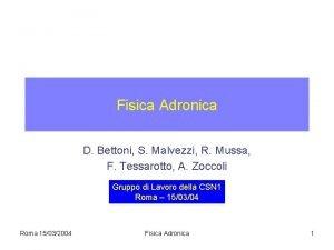 Fisica Adronica D Bettoni S Malvezzi R Mussa