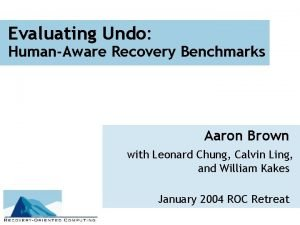 Evaluating Undo HumanAware Recovery Benchmarks Aaron Brown with