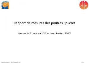 Rapport de mesures des poutres Epucret Mesures du
