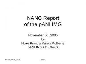 NANC Report of the p ANI IMG November