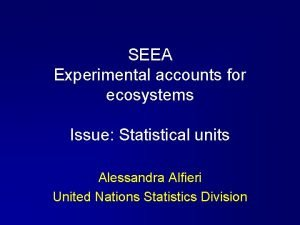 SEEA Experimental accounts for ecosystems Issue Statistical units