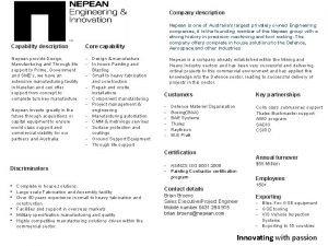 Company description Capability description Core capability Nepean provide