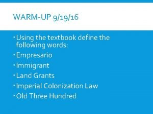 WARMUP 91916 Using the textbook define the following