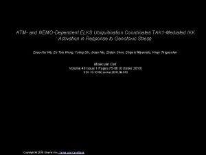 ATM and NEMODependent ELKS Ubiquitination Coordinates TAK 1