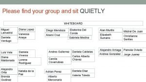 Please find your group and sit QUIETLY WHITEBOARD