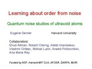 Learning about order from noise Quantum noise studies