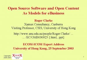 Open Source Software and Open Content As Models