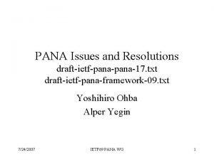 PANA Issues and Resolutions draftietfpana17 txt draftietfpanaframework09 txt