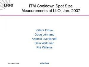 ITM Cooldown Spot Size Measurements at LLO Jan