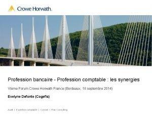 Profession bancaire Profession comptable les synergies VIme Forum